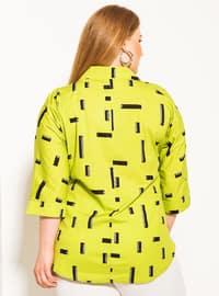 Green - Multi - Button Collar - Point Collar -  - Plus Size Blouse