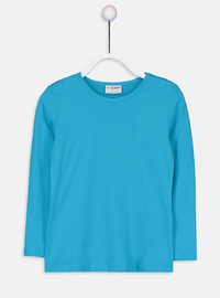 Crew neck - Turquoise - Girls` T-Shirt
