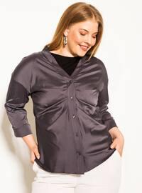 Gray - V neck Collar -  - Plus Size Blouse