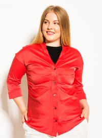 Red - V neck Collar -  - Plus Size Blouse