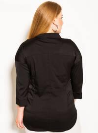 Black - V neck Collar -  - Plus Size Blouse