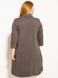 Gray - Point Collar -  - Plus Size Blouse