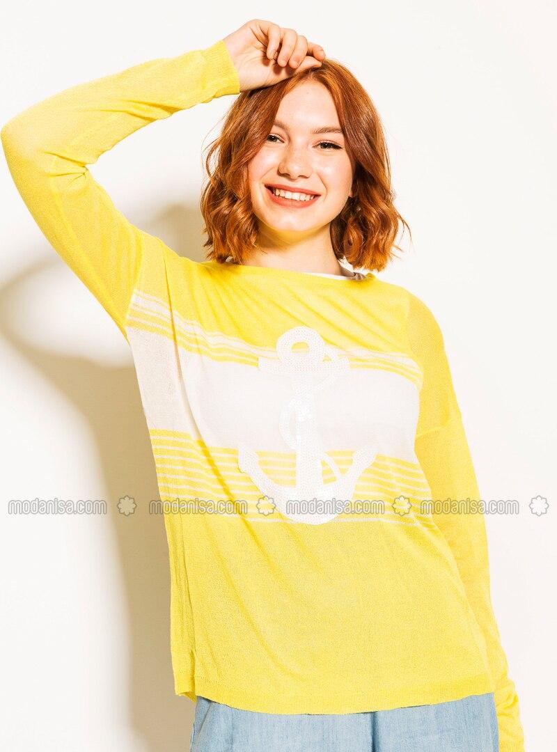 Yellow - Crew neck - Viscose - Blouses