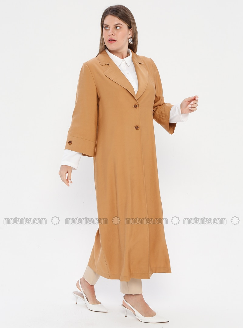 White - Camel - Ecru - Shawl Collar - Viscose - Plus Size Suit
