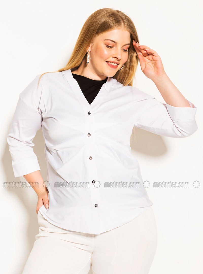 White - V neck Collar -  - Plus Size Blouse