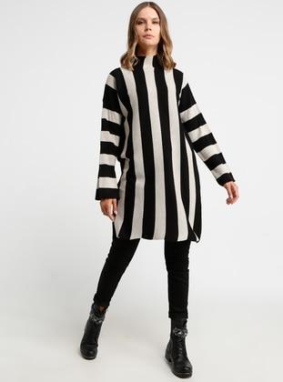 Black - Stripe - Polo neck - Acrylic -  - Tunic