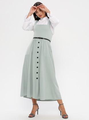 Ecru - Mint - Polo neck - Unlined -  - Dress
