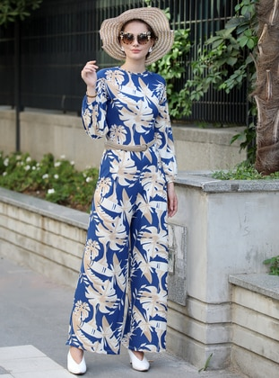 Blue - Stone - Floral - Unlined - Crew neck - Jumpsuit - Selma Sarı Design