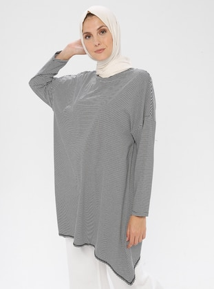 White - Black - Stripe - Crew neck -  - Tunic