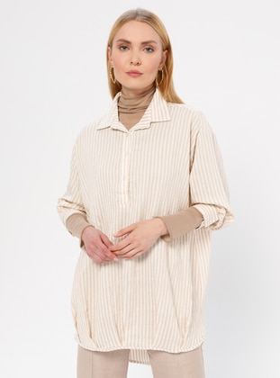 Beige - Stripe - Point Collar - Blouses