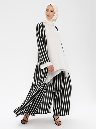 White - Black - Stripe - Cardigan