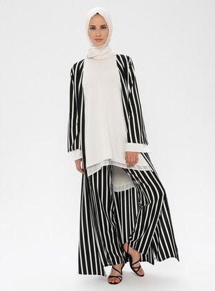 White - Black - Stripe - Pants
