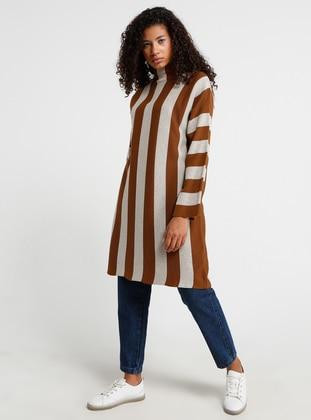 Tan - Stripe - Polo neck - Acrylic -  - Tunic