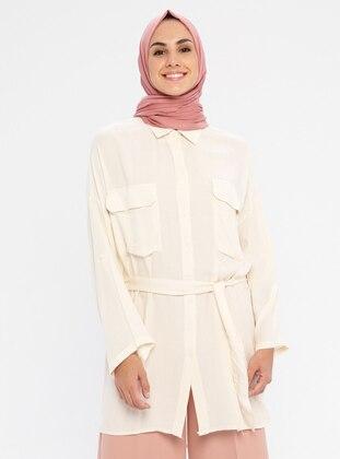 White - Ecru - Stripe - Point Collar - Viscose - Tunic