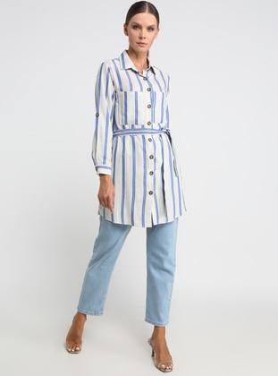 Indigo - Blue - Stripe - Point Collar - Tunic