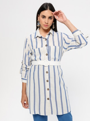 Indigo - Blue - Stripe - Point Collar - Tunic