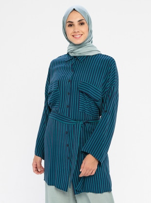 Navy Blue - Stripe - Point Collar - Viscose - Tunic