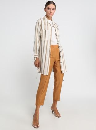 Mink - Stripe - Point Collar - Tunic