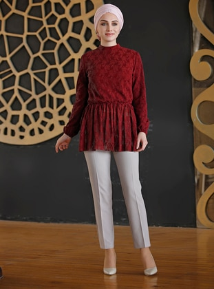 Maroon - Polo neck - Cotton - Blouses