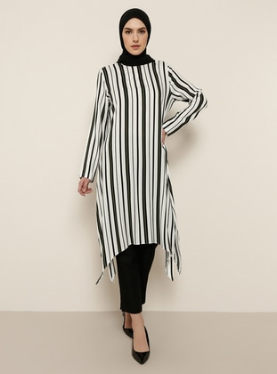 Khaki - Stripe - Crew neck - Viscose - Tunic - Tavin