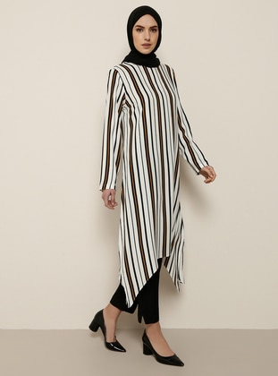 Terra Cotta - Stripe - Crew neck - Viscose - Tunic