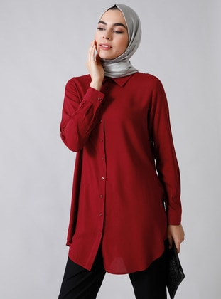 Maroon - Point Collar - Viscose - Tunic
