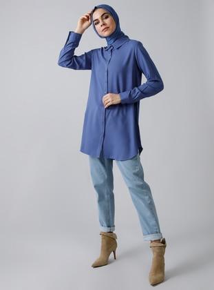 Indigo - Blue - Point Collar - Viscose - Tunic