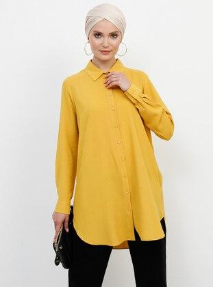 Yellow - Point Collar - Viscose - Tunic