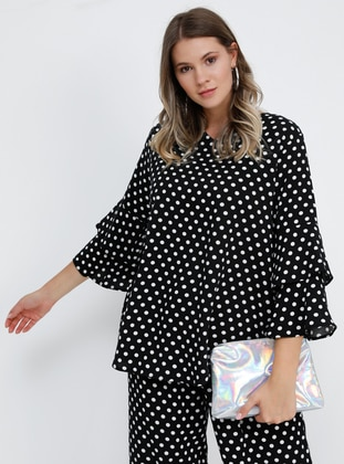 Black - Polka Dot - V neck Collar - Viscose - Plus Size Blouse
