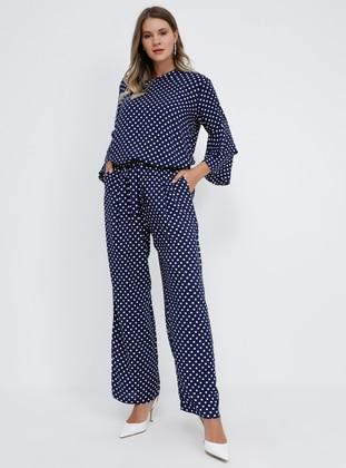 Navy Blue - Polka Dot - Viscose - Plus Size Pants