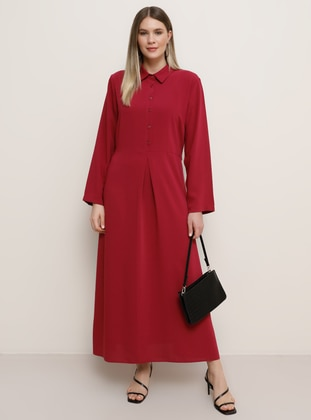 Plum - Unlined - Point Collar - Plus Size Dress