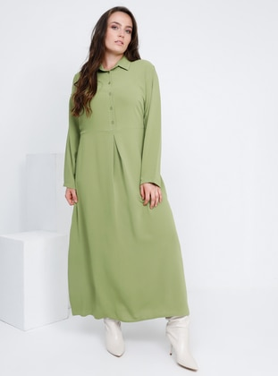 Olive Green - Green - Unlined - Point Collar - Plus Size Dress