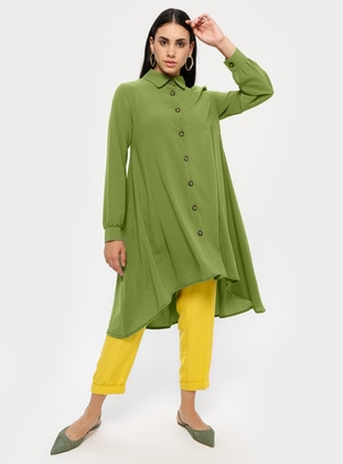 Green - Point Collar - Unlined - Tunic