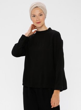 Black - Crew neck - Blouses