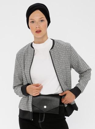 Gray - Unlined - Crew neck - Jacket