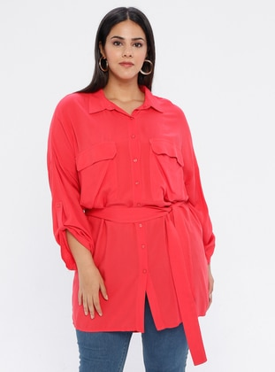 Coral - Point Collar - Viscose - Plus Size Tunic