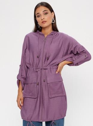 Lilac - Nylon - Viscose - Cardigan