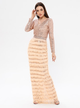 Beige - Fully Lined - V neck Collar - Muslim Evening Dress