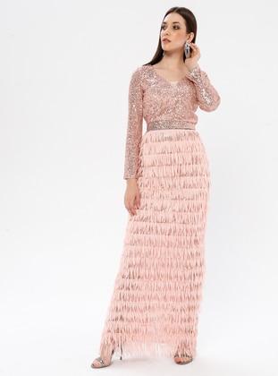 Powder - Fully Lined - V neck Collar - Muslim Evening Dress
