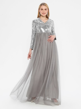 Gray - Fully Lined - V neck Collar - Maternity Evening Dress
