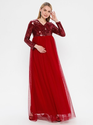 Red - Fully Lined - V neck Collar - Maternity Evening Dress