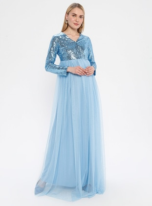 Blue - Fully Lined - V neck Collar - Maternity Evening Dress