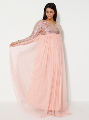 Powder - Powder - Fully Lined - V neck Collar - Maternity Evening Dress