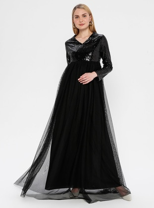 Black - Fully Lined - V neck Collar - Maternity Evening Dress - Moda Labio