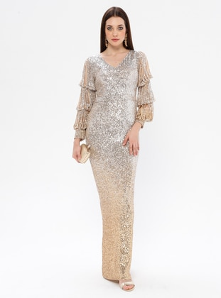 Gold - Silver tone - Fully Lined - V neck Collar - Muslim Evening Dress
