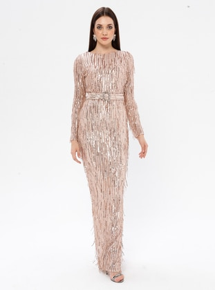 Beige - Fully Lined - Crew neck - Muslim Evening Dress