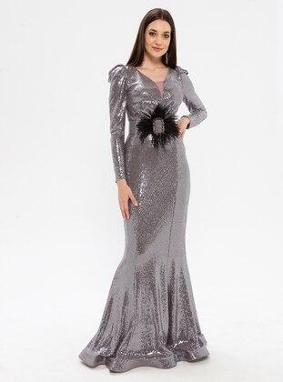 Plum - Fully Lined - V neck Collar - Muslim Evening Dress