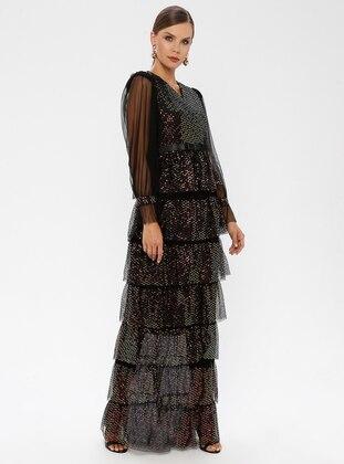 Gold - Black - Fully Lined - V neck Collar - Muslim Evening Dress