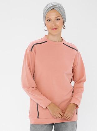 Cotton - Crew neck - Pink - Sweat-shirt