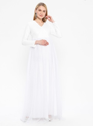 White - Fully Lined - V neck Collar - Maternity Evening Dress